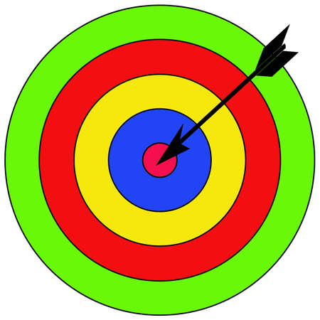 intentions: the dart falls into circle, on white background. the vector.