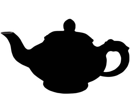 on white background, is drawn teapot. the vector. Illustration