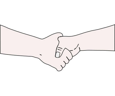 on white background, the handshake. the vector.