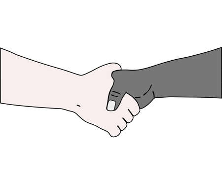 acquaintance: On white background, the handshake. The Vector.