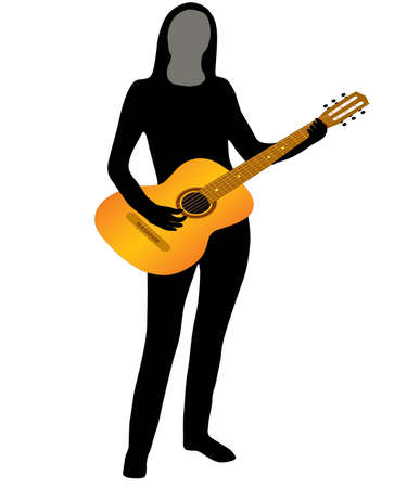 The Silhouette of the musician on white background. The Vector. Vector