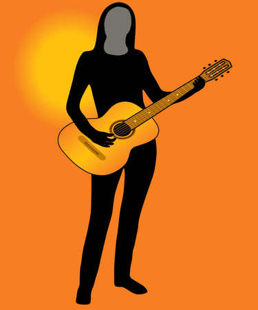 warmly: The Silhouette of the musician on background of the sundown. The Vector.
