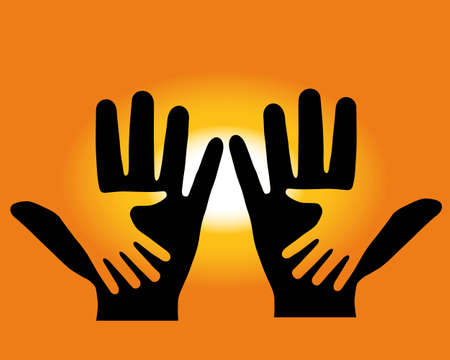 On background of the sundown, are made two hands Vector