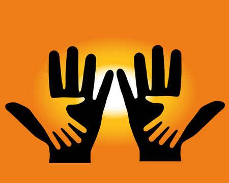 grande e piccolo: Sullo sfondo del tramonto, sono realizzati in due mani