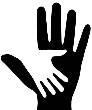 On white background, are drawn two hands Vector