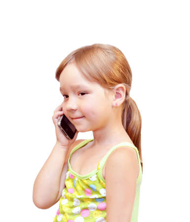 warmly: The Child and telephone, on white background