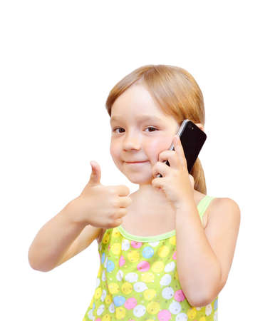 warmly: The Child and telephone, on white background.