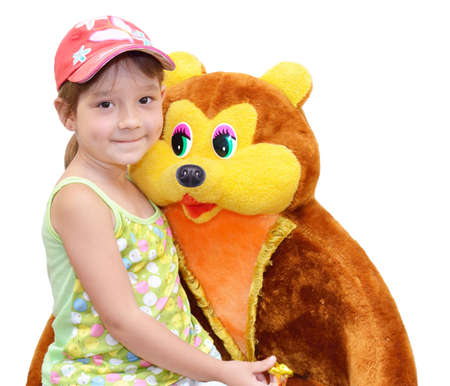 warmly: The Child and toy, on white background. The Bear.