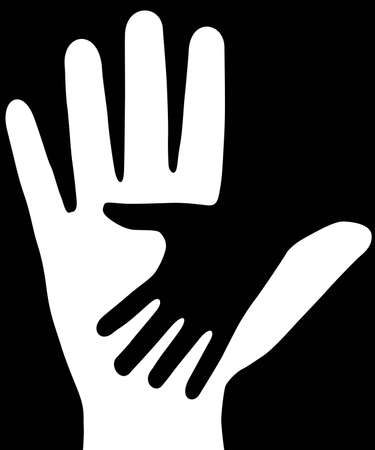 ring finger: On black background, are made two hands. The Vector.