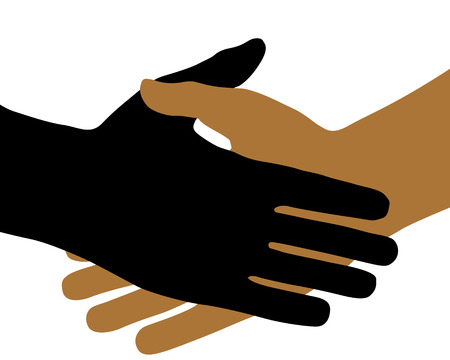 On white background, the handshake.