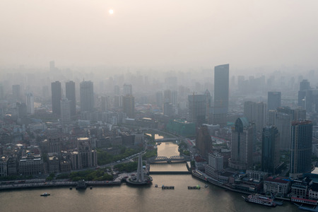 modern city in a pollution at sunset (Shanghai, China) Stock fotó