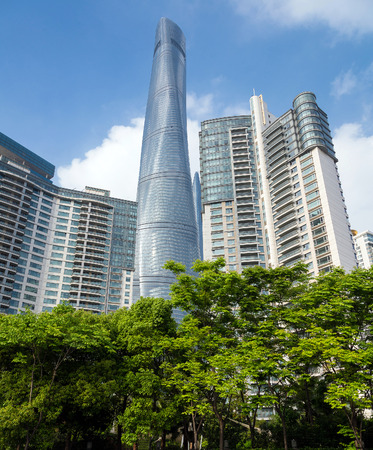city park skyline: view of the city skyline from nature park