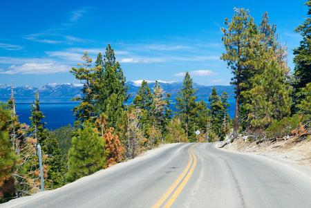 south lake tahoe: road along Lake Tahoe, USA