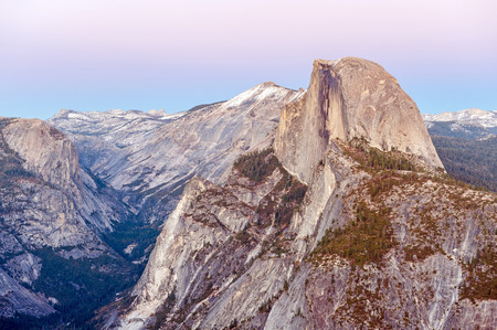 dome of the rock: Half Dome Rock in Yosemite National Park at sunset Stock Photo