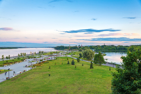 river view: landscape of park and Volga river in Yaroslavl city (city of Russian Golden ring)
