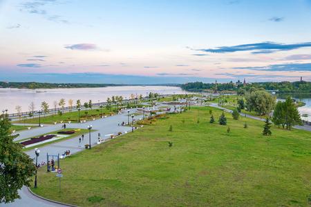 golden ring: landscape of park and Volga river in Yaroslavl city (city of Russian Golden ring)
