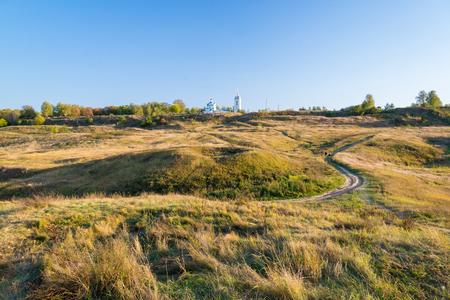 esenin: autumn landscape of hill near the Konstantinovo village, Russia Stock Photo