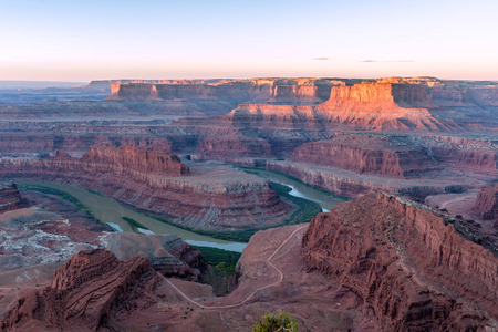 sunrise in Colorado river at Dead Horse Point State Park, Utah, USA