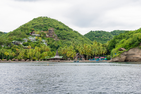 st lucia: houses on a hillside on the shores of the ocean, St Lucia, Caribbean
