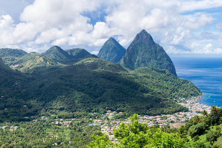landscape of the famous Pitons mountain in St Lucia, Caribbean  Stock Photo