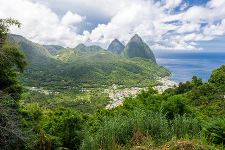 st lucia: landscape of the famous Pitons mountain in St Lucia, Caribbean Stock Photo