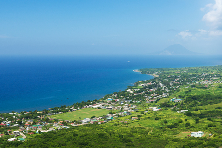 coastline from Brimstone hill fortress, tropical island St. Kitts and Nevis