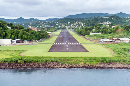 local runway in airport city Castries, St.Lucia, Caribbean