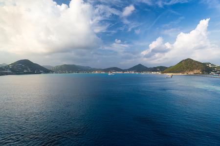 saint martin: tropical Caribbean island of Saint Martin, view from ocean
