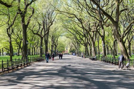 mensen lopen in Central Park in de lente, New York, VS.