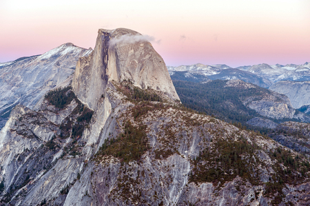 dome of the rock: Half Dome Rock in Yosemite National Park at sunset