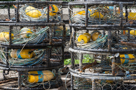 fishing floats: fishing nets, buoys and floats Stock Photo