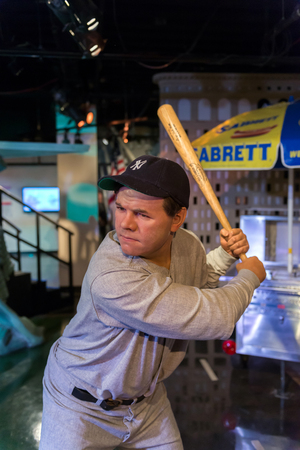 NEW YORK, USA - SEPTEMBER 27, 2013: Babe Ruth wax figure at Madame Tussauds wax museum in New York Editorial