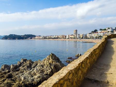 view of the coast from the medieval fortress of Villa Vella, Tossa de Mar, Costa Brava, Catalonia, Spain
