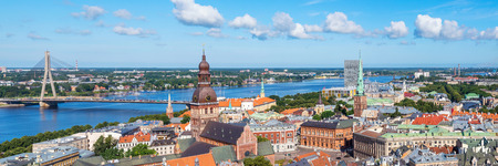 panorama aerial view of Old Town, Riga, Latvia Фото со стока