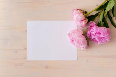 Pink peony flowers on white wood