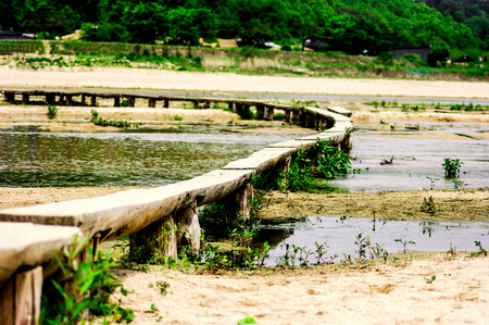 Single log bridge May in Museom Village, Yeongju-si, Korea