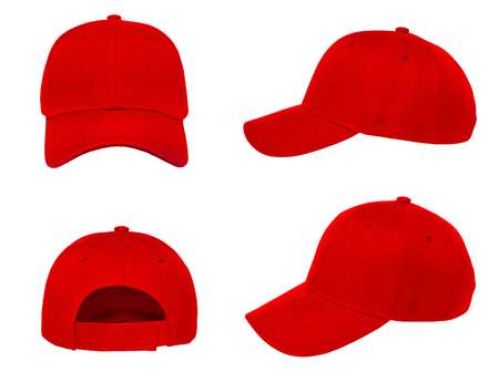 Blank red baseball cap 4 view on white background Stockfoto