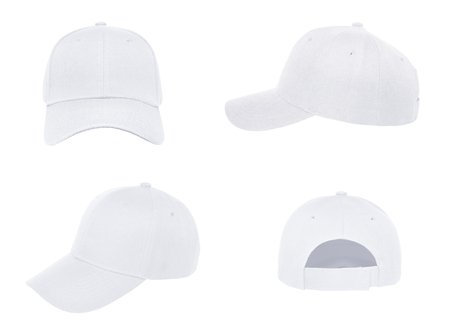 Blank white baseball cap 4 view on white background Imagens