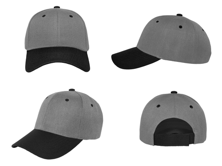 Blank baseball cap 4 view color gray / black on white background