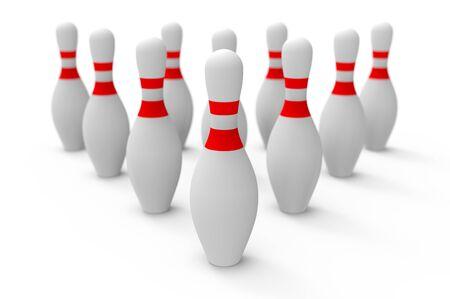 3D-Bowling-Pins auf weißem Hintergrund