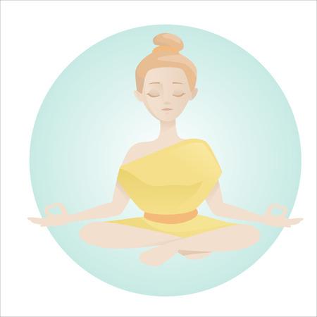 meditates: girl meditates Illustration