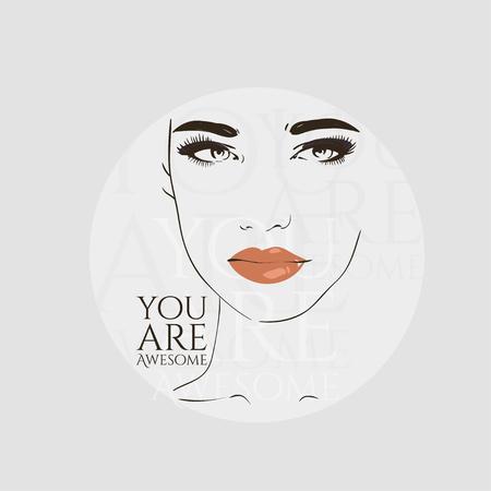 Beautiful woman face, hand drawn line vector illustration.