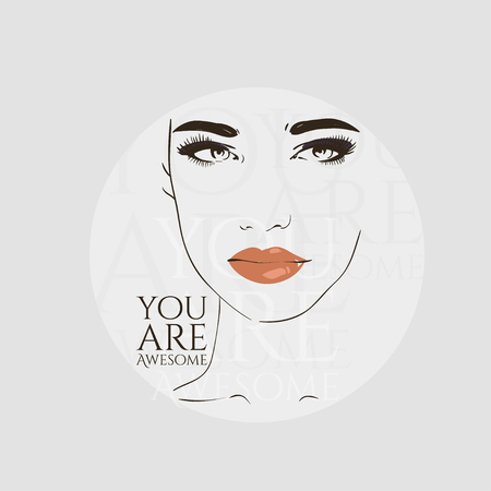 Beautiful woman face, hand drawn line vector illustration.