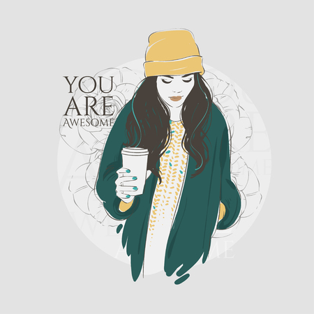 Beautiful hipster young women in a fashion jacket in hat with coffee. Vector hand drawn illustration.