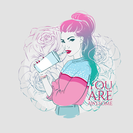 Vector hand drawn illustration of a fashion girl with ombre color long hair drinking from a cup using a straw. Иллюстрация