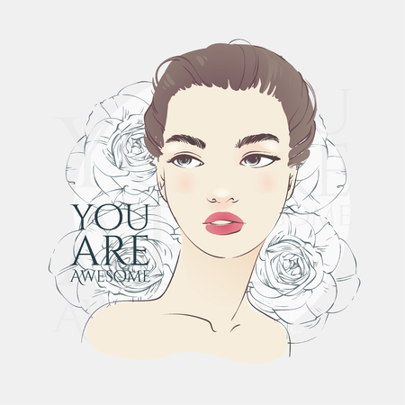 Beautiful girl with retro hairstyle, hand drawn line vector fashion illustration. Illustration