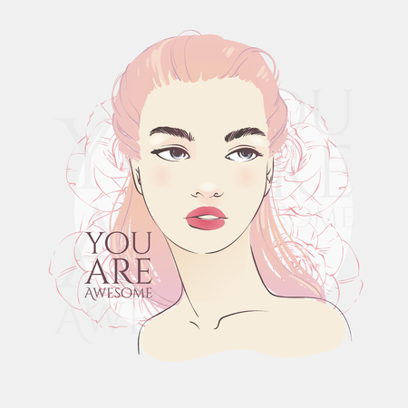 Beautiful girl with pink long hair, hand drawn line vector fashion illustration.
