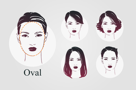 Vector set beautiful women icon portraits with different haircut and oval type faces. Hand drawn illustration. Çizim