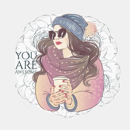 Mooie hipster jonge vrouwen in een mode roze jas met sjaal en zonnebril, hoed met bubo en kopje koffie. Vector hand getekende illustratie.