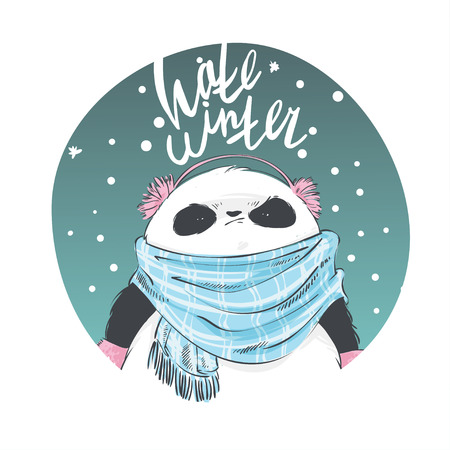 Panda in blue scarf and pink earmuffs with lettering hate winter. Vector illustration for greeting card, poster, or print on clothes. Christmas and New Year.
